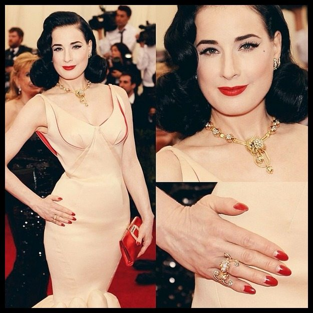 Dita Von Teese's gold and diamond vintage Van Cleef and Arpels jewels at the 2014 Met Gala.