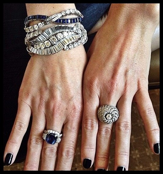 Jessica Pare's vintage Fred Leighton bracelets and rings at the 2014 Met Gala