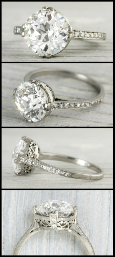 3.77 diamond Art Deco engagement ring with heart filigree gallery. Via Diamonds in the Library.