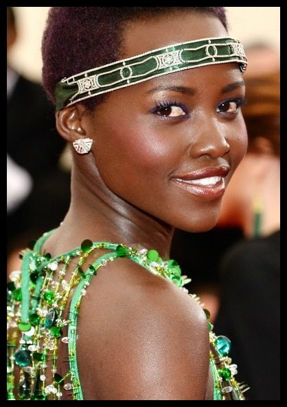 Lupita Nyong'o in Art Deco Cartier diamonds at the 2014 Met Gala.