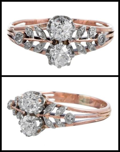 Antique Victorian platinum-topped rose gold diamond ring with pretty floral design. Via Diamonds in the Library.