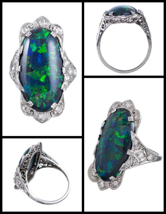 Art Deco black opal and diamond ring in platinum filigree. Via Diamonds in the Library.