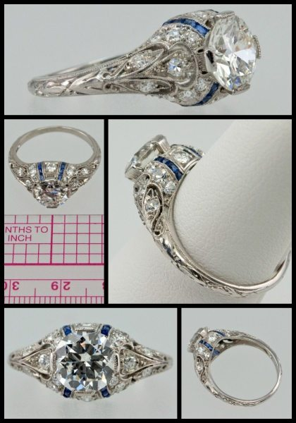 Art Deco engagement ring with sapphires, diamonds, engraving and millegrain details. Via Diamonds in the Library.