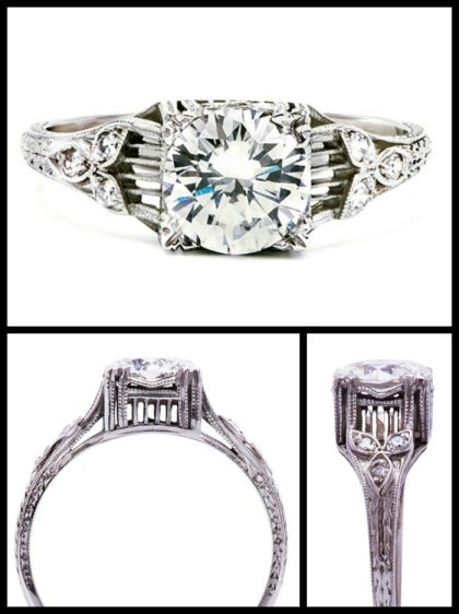 Art Deco diamond engagement ring with filigree details. Via Diamonds in the Library.