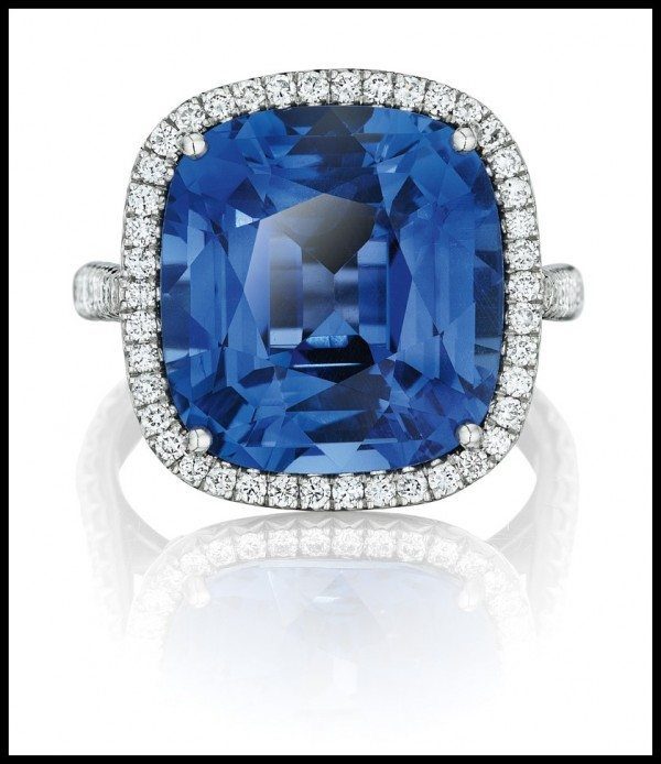 Unheated Ceylon sapphire and diamond ring. Center stone is a The 13.21 carat cushion-cut Ceylon sapphire is GIA certified as unheated and wreathed in pavé-set white diamonds, all set in platinum. Via Diamonds in the Library.