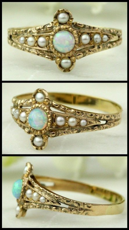 Antique Victorian opal and seed pearl in chased rose gold.
