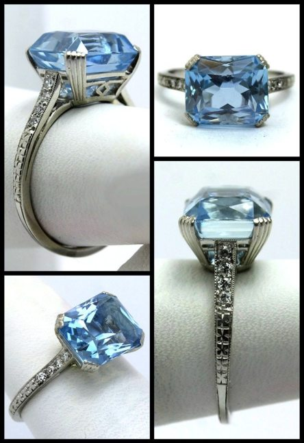 Art Deco aquamarine and diamond ring by Raymond Yard.