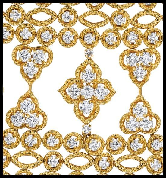Detail: 1970's Van Cleef & Arpels gold and diamond bracelet. Via Diamonds in the Library.