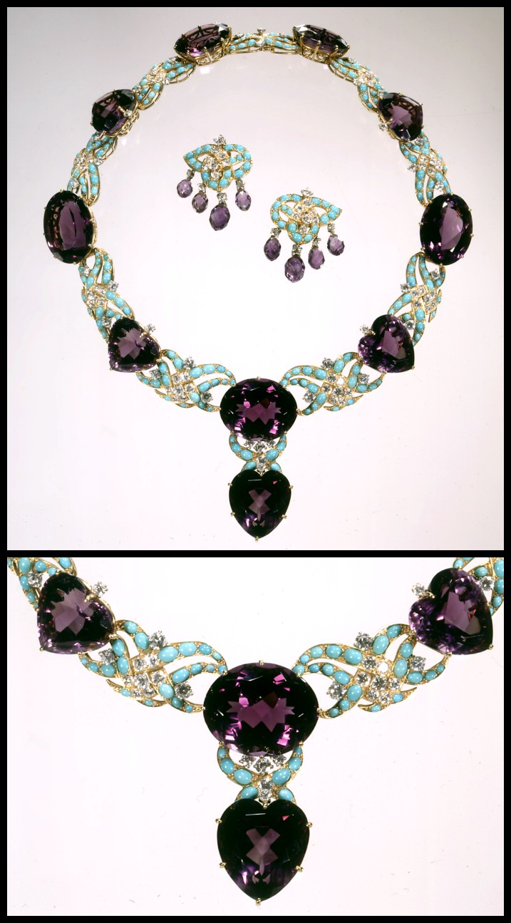 Marjorie Merriweather Post's Cartier amethyst and turqupose necklace and earring set, circa 1950-1951.