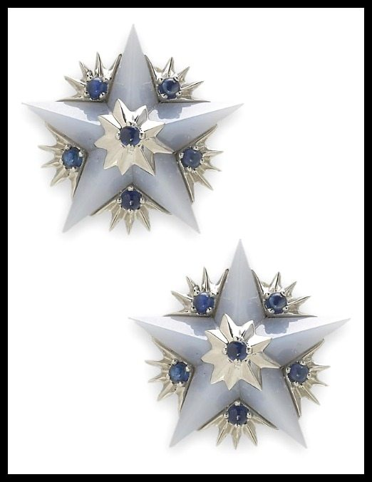 Chalcedony and sapphire star earclips, Jean Schlumberger, Tiffany & Co.