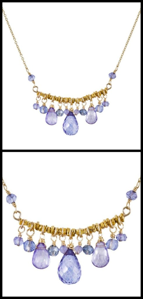 Dana Kellin Starlight Fringe necklace with pale blue and lavender quartz.