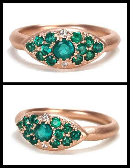 Alberian and Aulde's emerald classic pillow ring in rose gold with accent diamonds.