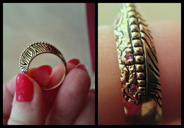 Balance ring by Kaura Jewels, in gold with pink sapphires and black ink.