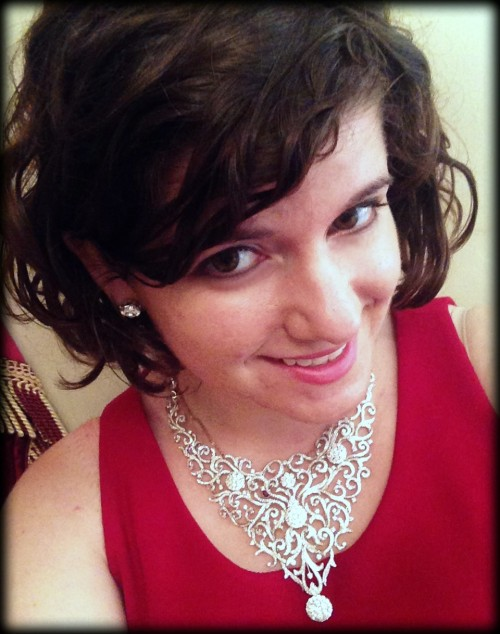 Becky of Diamonds in the Library in Coronet Diamonds' 20.60 carat diamond Hekate necklace.