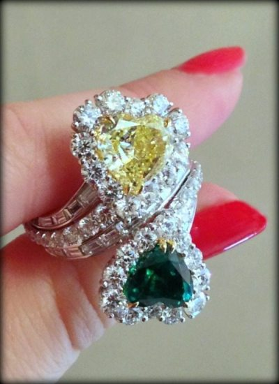 David Mor cocktail ring with diamonds, yellow diamond, and an emerald.