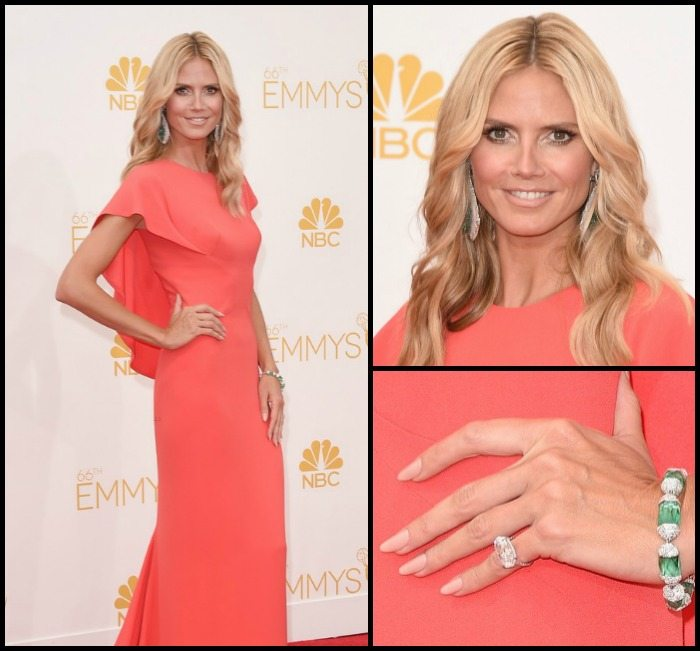 Heidi Klum at the 2014 Emmy awards in Lorraine Schwartz carved white jade and emerald earrings, an emerald and diamond bracelet, and diamond ring.