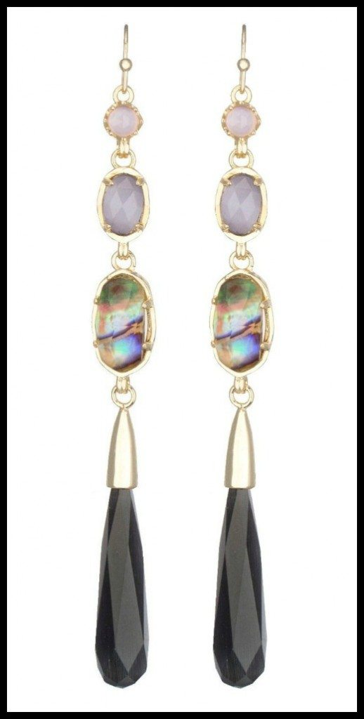 Kendra Scott Cassidy long dangle earrings in black reef & gold.