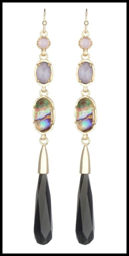 Kendra Scott Cassidy long dangle earrings in black reef & gold.
