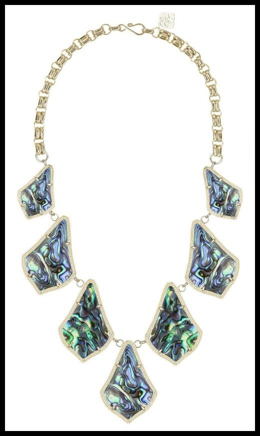 Kendra Scott Kensey statement necklace in Abalone & Gold.