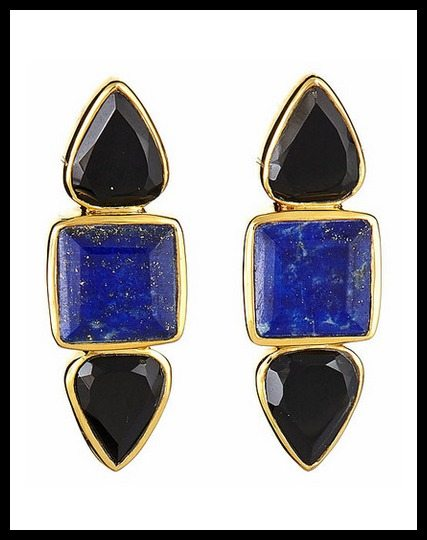 Margaret Elizabeth The Hydra earrings, with lapis and black onyx.
