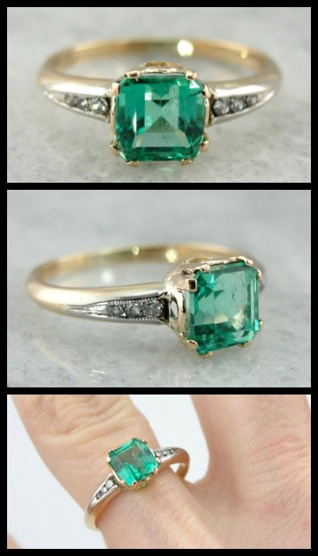 One of a kind emerald and diamond ring in yellow and white gold.