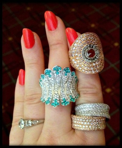 Diamond and gemstone rings by Sethi Couture and Simon G.