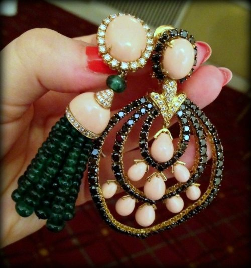 Two pairs of gemstone and diamond earrings by Andreoli.