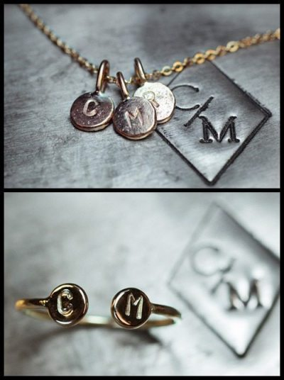 ChincharMaloney's initial cuff ring and initial charm necklace.