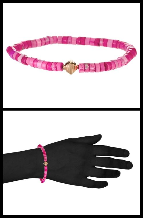 Hortense Pink Candy bracelet; pink beads with one tiered pyramid rose gold bead.