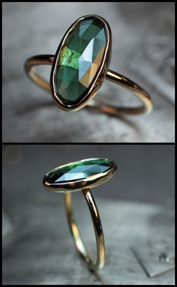 One of a kind rose cut green tourmaline and gold ring by ChincharMaloney.