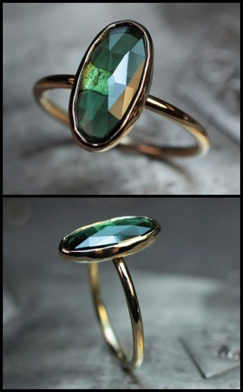 Rose cut green tourmaline and gold ring by ChincharMaloney