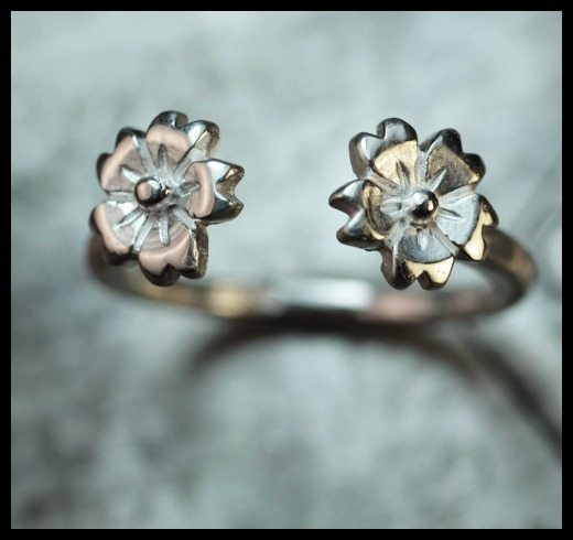 The ChincharMaloney Cherry Blossom ring in sterling silver.