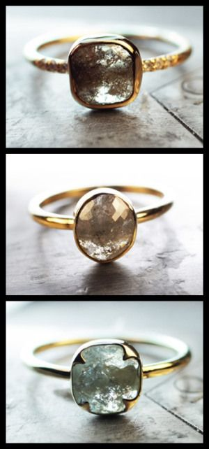 Three handmade natural rose-cut diamond engagement rings in yellow gold by ChincharMaloney.