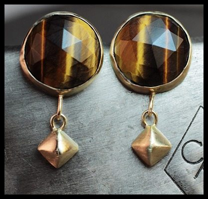 Tiger's eye and gold earrings by ChincharMaloney.