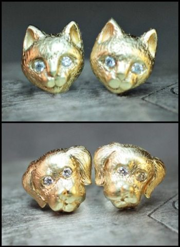 Yellow gold and diamond puppy and kitty earrings from ChincharMaloney's Charm Alone collection