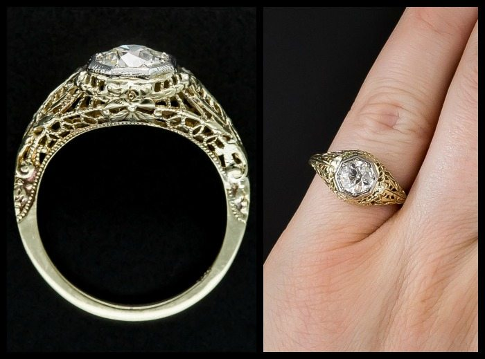 Antique Art Deco engagement ring in yellow gold filigree and an old European cut diamond in a platinum bezel.