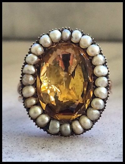 Antique Georgian split-shank, foiled-back citrine and pearl ring in yellow gold, circa early 1800's.