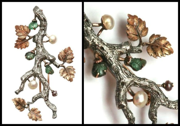 Buccellati white and yellow gold branch brooch with carved emeralds and pearls, with detail