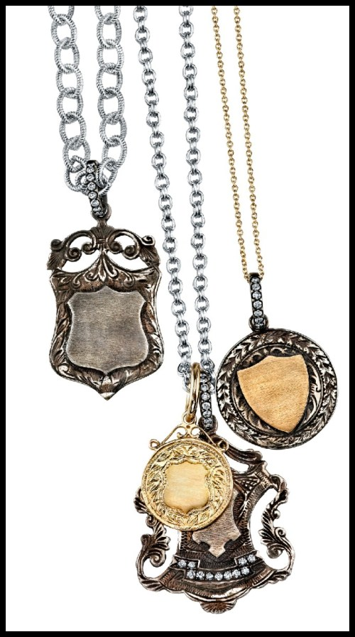 Gold and sterling silver pendants by Anabel Higgins.