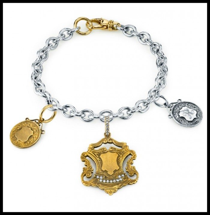Gold, silver, and diamond charm bracelet by Anabel Higgins. The charms are inspired by the design of antique sporting metals.