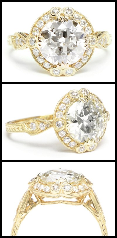 Yellow gold engagement ring by Single Stone; a beautiful antique-inspired style with millegrain details, engraving, and a 2 carat old European cut diamond.