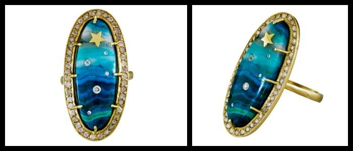 Diamond and chrysocolla shooting star ring by Andrea Fohrman; two views