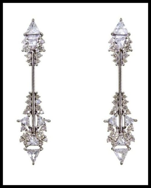 Diamond and white topaz Fusion Arrow earrings by Fernando Jorge.