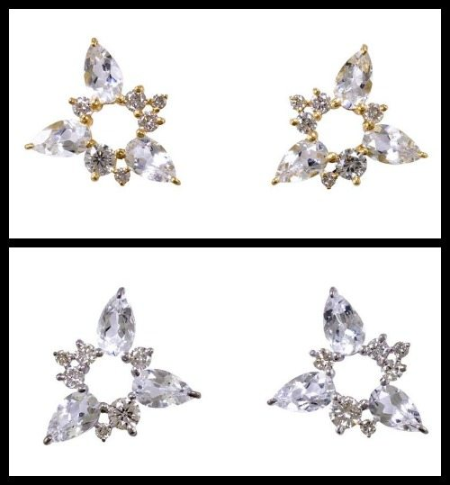 Fernando Jorge diamond and white topaz Electric Spark earrings in yellow gold and white gold.