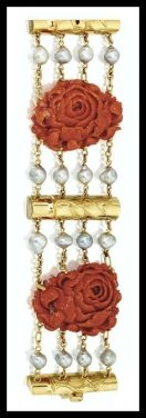 Alternate view: Carved coral, gold, and pearl roses and bamboo bracelet by Seaman Schepps. Via Diamonds in the Library.