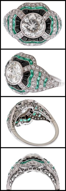 Art Deco-style diamond, emerald, and onyx ring.