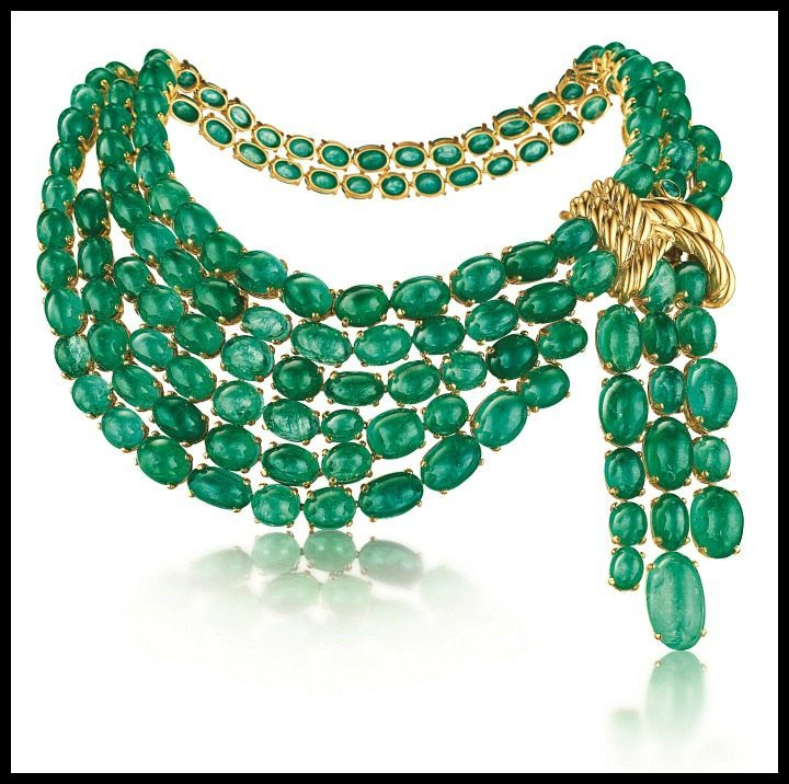 75th Anniversary Collection the Verdura emerald scarf necklace.