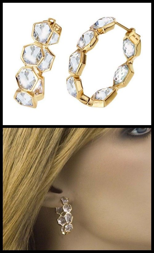 Allia 18K gold vermeil and white quartz hoop earrings.