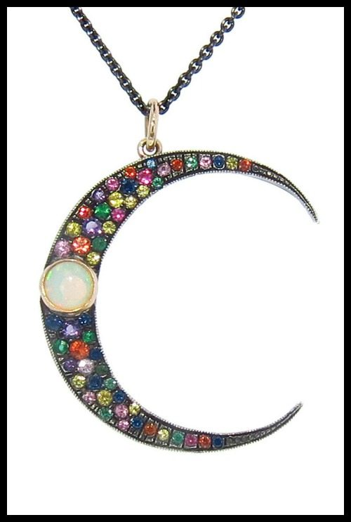 Andrea Fohrman Large Multi-Colored Luna necklace with multi colored sapphire, emeralds, diamonds, and an opal set in 18k rose gold and oxidized sterling silver.