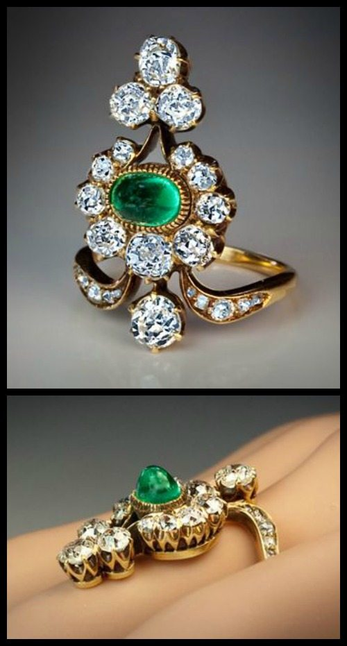Antique Belle Epoque Russian diamond and emerald ring.